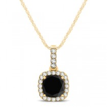 Black Diamond & Diamond Halo Cushion Pendant Necklace 14k Yellow Gold (0.62ct)