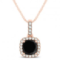 Black Diamond & Diamond Halo Cushion Pendant Necklace 14k Rose Gold (1.49ct)