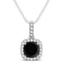 Black Diamond & Diamond Halo Cushion Pendant Necklace 14k White Gold (1.49ct)