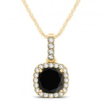 Black Diamond & Diamond Halo Cushion Pendant Necklace 14k Yellow Gold (1.49ct)