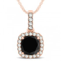 Black Diamond & Diamond Halo Cushion Pendant Necklace 14k Rose Gold (3.00ct)