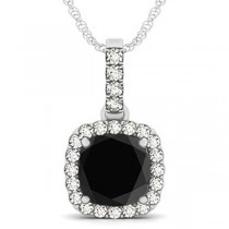 Black Diamond & Diamond Halo Cushion Pendant Necklace 14k White Gold (3.00ct)