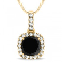 Black Diamond & Diamond Halo Cushion Pendant Necklace 14k Yellow Gold (3.00ct)