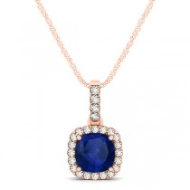 Blue Sapphire & Diamond Halo Cushion Pendant Necklace 14k Rose Gold (0.85ct)