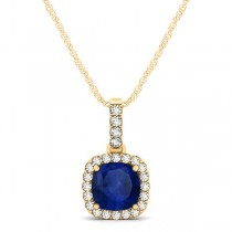 Blue Sapphire & Diamond Halo Cushion Pendant Necklace 14k Yellow Gold (0.85ct)