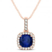 Blue Sapphire & Diamond Halo Cushion Pendant Necklace 14k Rose Gold (1.94ct)