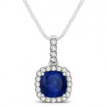 Blue Sapphire & Diamond Halo Cushion Pendant Necklace 14k White Gold (1.94ct)