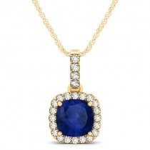 Blue Sapphire & Diamond Halo Cushion Pendant Necklace 14k Yellow Gold (1.94ct)