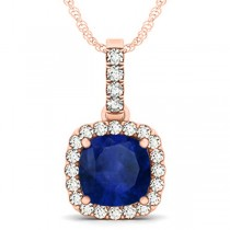 Blue Sapphire & Diamond Halo Cushion Pendant Necklace 14k Rose Gold (4.05ct)