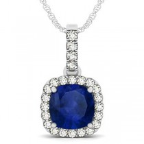 Blue Sapphire & Diamond Halo Cushion Pendant Necklace 14k White Gold (4.05ct)
