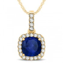 Blue Sapphire & Diamond Halo Cushion Pendant Necklace 14k Yellow Gold (4.05ct)