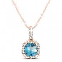 Blue Topaz & Diamond Halo Cushion Pendant Necklace 14k Rose Gold (0.78ct)