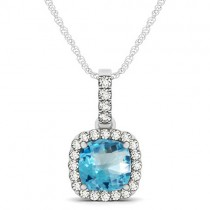 Blue Topaz & Diamond Halo Cushion Pendant Necklace 14k White Gold (1.96ct)