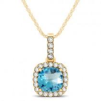 Blue Topaz & Diamond Halo Cushion Pendant Necklace 14k Yellow Gold (1.96ct)