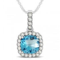 Blue Topaz & Diamond Halo Cushion Pendant Necklace 14k White Gold (4.05ct)