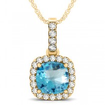 Blue Topaz & Diamond Halo Cushion Pendant Necklace 14k Yellow Gold (4.05ct)