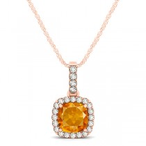 Citrine & Diamond Halo Cushion Pendant Necklace 14k Rose Gold (0.61ct)