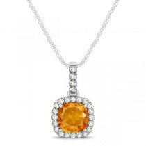 Citrine & Diamond Halo Cushion Pendant Necklace 14k White Gold (0.61ct)