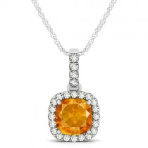 Citrine & Diamond Halo Cushion Pendant Necklace 14k White Gold (1.56ct)