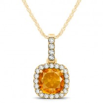 Citrine & Diamond Halo Cushion Pendant Necklace 14k Yellow Gold (1.56ct)