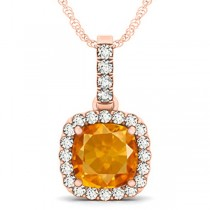 Citrine & Diamond Halo Cushion Pendant Necklace 14k Rose Gold (4.05ct)