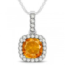 Citrine & Diamond Halo Cushion Pendant Necklace 14k White Gold (4.05ct)