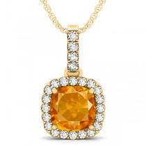 Citrine & Diamond Halo Cushion Pendant Necklace 14k Yellow Gold (4.05ct)
