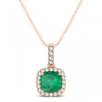 Emerald & Diamond Halo Cushion Pendant Necklace 14k Rose Gold (0.66ct)