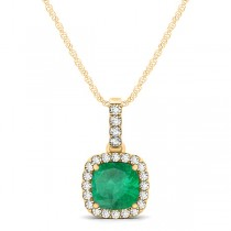 Emerald & Diamond Halo Cushion Pendant Necklace 14k Yellow Gold (0.66ct)
