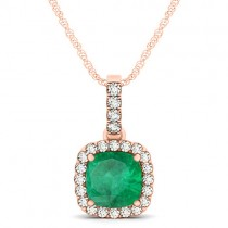 Emerald & Diamond Halo Cushion Pendant Necklace 14k Rose Gold (1.96ct)