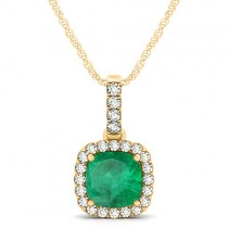 Emerald & Diamond Halo Cushion Pendant Necklace 14k Yellow Gold (1.96ct)