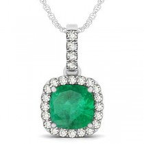 Emerald & Diamond Halo Cushion Pendant Necklace 14k White Gold (4.05ct)