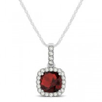 Garnet & Diamond Halo Cushion Pendant Necklace 14k White Gold (0.90ct)
