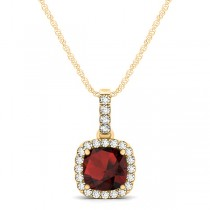 Garnet & Diamond Halo Cushion Pendant Necklace 14k Yellow Gold (0.90ct)