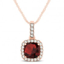 Garnet & Diamond Halo Cushion Pendant Necklace 14k Rose Gold (1.94ct)