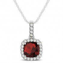 Garnet & Diamond Halo Cushion Pendant Necklace 14k White Gold (1.94ct)