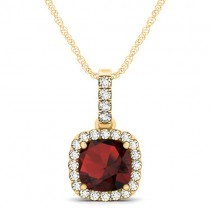 Garnet & Diamond Halo Cushion Pendant Necklace 14k Yellow Gold (1.94ct)