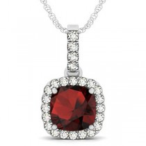 Garnet & Diamond Halo Cushion Pendant Necklace 14k White Gold (4.05ct)
