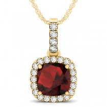 Garnet & Diamond Halo Cushion Pendant Necklace 14k Yellow Gold (4.05ct)