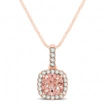 Pink Morganite & Diamond Halo Cushion Pendant Necklace 14k Rose Gold (0.76ct)