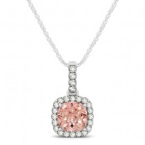 Pink Morganite & Diamond Halo Cushion Pendant Necklace 14k White Gold (0.76ct)