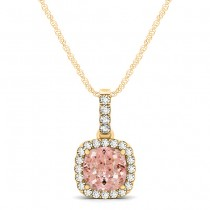 Pink Morganite & Diamond Halo Cushion Pendant Necklace 14k Yellow Gold (0.76ct)