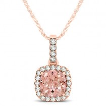 Pink Morganite & Diamond Halo Cushion Pendant Necklace 14k Rose Gold (1.96ct)