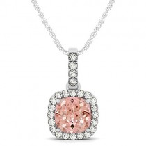 Pink Morganite & Diamond Halo Cushion Pendant Necklace 14k White Gold (1.96ct)