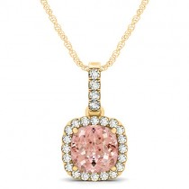 Pink Morganite & Diamond Halo Cushion Pendant Necklace 14k Yellow Gold (1.96ct)
