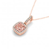 Pink Morganite & Diamond Halo Cushion Pendant Necklace 14k Rose Gold (4.05ct)