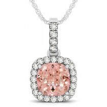 Pink Morganite & Diamond Halo Cushion Pendant Necklace 14k White Gold (4.05ct)