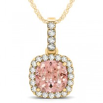 Pink Morganite & Diamond Halo Cushion Pendant Necklace 14k Yellow Gold (4.05ct)