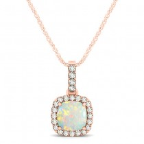 Opal & Diamond Halo Cushion Pendant Necklace 14k Rose Gold (0.71ct)