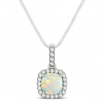 Opal & Diamond Halo Cushion Pendant Necklace 14k White Gold (0.71ct)